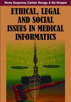 Cover image for Ethical, legal, and social issues in medical informatics