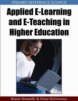 Cover image for Applied e-learning and e-teaching in higher education