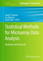 Cover image for Statistical methods for microarray data analysis : methods and protocols