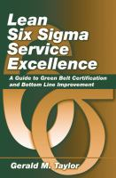Cover image for Lean six sigma service excellence : a guide to green belt certification and bottom line improvement