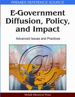 Cover image for E-government diffusion, policy, and impact : advanced issues and practices