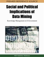 Cover image for Social and political implications of data mining : knowledge management in e-government
