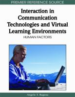 Cover image for Interaction in communication technologies and virtual learning environments : human factors