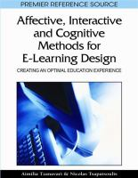 Cover image for Affective, interactive and cognitive methods for e-learning design : creating an optimal education experience