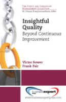 Cover image for Insightful quality : beyond continuous improvement