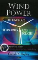 Cover image for Wind power : technology, economics and policies