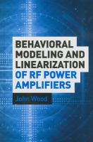Cover image for Behavioral modeling and linearization of RF power amplifiers
