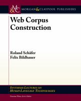 Cover image for Web corpus construction