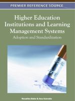 Cover image for Higher education institutions and learning management systems : adoption and standardization