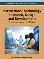 Cover image for Instructional technology research, design and development : lessons from the field