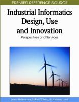 Cover image for Industrial informatics design, use and innovation : perspectives and services