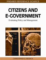 Cover image for Citizens and E-government : evaluating policy and management