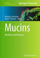 Cover image for Mucins : methods and protocols