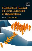 Cover image for Handbook of research on crisis leadership in organizations