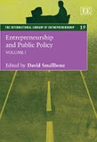 Cover image for Entrepreneurship and public policy