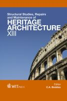 Cover image for Structural studies, repairs and maintenance of heritage architecture XIII