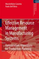 Cover image for Effective resource management in manufacturing systems : optimization algorithms for production planning