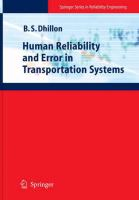 Cover image for Human Reliability and Error in Transportation Systems
