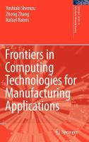 Cover image for Frontiers in computing technologies for manufacturing applications