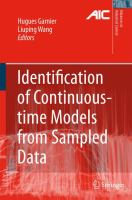 Cover image for Identification of continuous-time models from sampled data