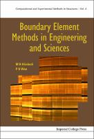 Cover image for Boundary element methods in engineering and sciences