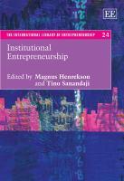 Cover image for Institutional entrepreneurship