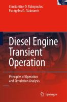 Cover image for Diesel engine transient operation : principles of operation and simulation analysis