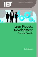 Cover image for Lean product development : a manager's guide