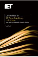 Cover image for Commentary on IET Wiring Regulations 17th Edition : BS 7671:2008+A3:2015 Requirements for Electrical Installations