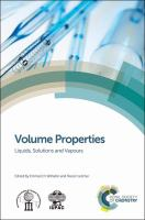 Cover image for Volume properties : liquids, solutions and vapours