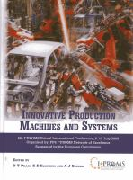 Cover image for Innovative production machines and systems fifth I*PROMS Virtual Conference, 6-17th July 2009