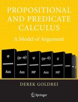 Cover image for Propositional and predicate calculus : a model of argument