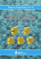 Cover image for Boundary element analysis of cracks in shear deformable plates and shells