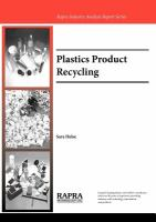 Cover image for Plastics product recycling