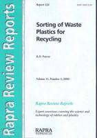 Cover image for Sorting of waste plastics for recycling