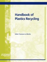 Cover image for Handbook of plastics recycling