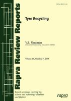 Cover image for Tyre recycling