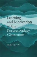 Cover image for Learning and motivation in the postsecondary classroom