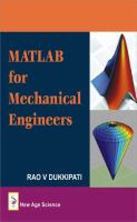 Cover image for MATLAB for mechanical engineers
