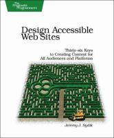 Cover image for Design accessible web sites : thirty-six keys to creating content for
