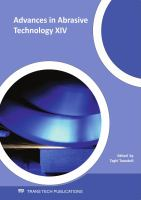 Cover image for Advances in abrasive technology XIV : selected, peer reviewed papers from the 14th international symposium on advances in abrasive technology (ISAAT 2011), Sept. 18-21, 2011, Stuttgart, Germany
