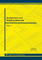Cover image for Architecture and building materials : selected, peer reviewed papers from the 2011 International Conference on Civil Engineering and Transportation (ICCET 2011), October 14-16, 2011, Jinan, China