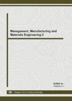 Cover image for Management, manufacturing and materials engineering II selected, peer reviewed papers from the 2012 2nd international conference on management, manufacturing and materials engineering (CIMMM 2012), September 21-23, 2012, Beijing, China