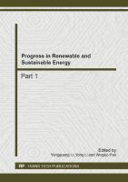 Cover image for Progress in renewable and sustainable energy : selected, peer reviewed papers from the 2nd international conference on energy, environment and sustainable development (EESD 2012), October 12-14, 2012, Jilin, China