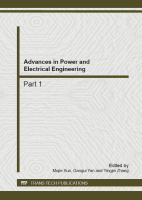 Cover image for Advances in power and electrical engineering : selected, peer reviewed papers from the 2nd international conference on energy, environment and sustainable development (EESD 2011), October 12-14, 2012, Jilin, China
