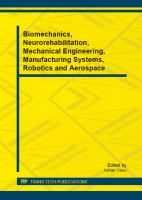 Cover image for Biomechanics, neurorehabilitation, mechanical engineering, manufacturing systems, robotics and aerospace