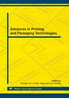 Cover image for Advances in printing and packaging technologies : selected, peer reviewed papers from the 2nd China academic conference on printing and packaging (CACPP 2012), October 19-20, 2012, Beijing, China