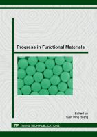 Cover image for Progress in functional materials : selected peer reviewed papers from the 2nd. International Conference on Optical, Electronic and electrical Materials (OEEM 2012), August 5-7 2012, Shanghai, China