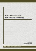 Cover image for Material sciences and manufacturing technology