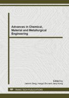 Cover image for Advances in chemical, material and metallurgical engineering : selected, peer reviewed papers form the 2012 2nd International Conference on Chemical, Materials and Metallurgical Engineering (ICCMME 2012), December 15-16, 2012, Kunming, China